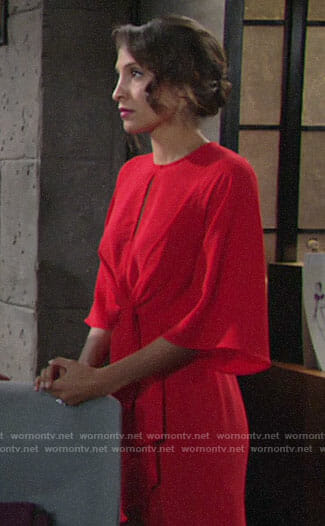 Lily's red knotted dress on The Young and the Restless