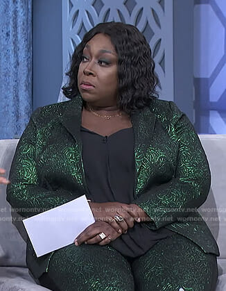 Loni's green metallic suit on The Real