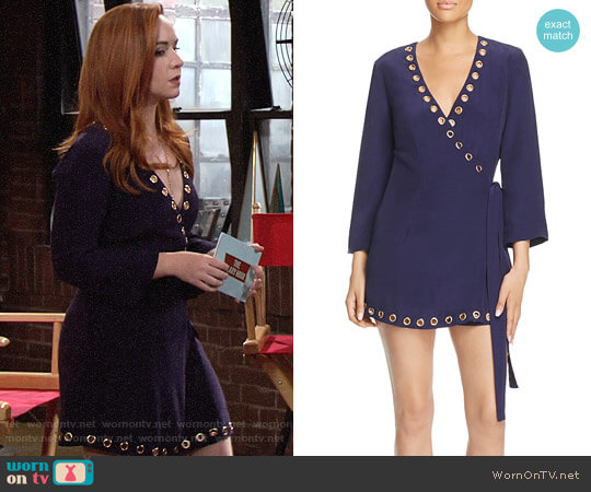 Lovers + Friends Blue Crush Wrap Dress worn by Camryn Grimes on The Young & the Restless