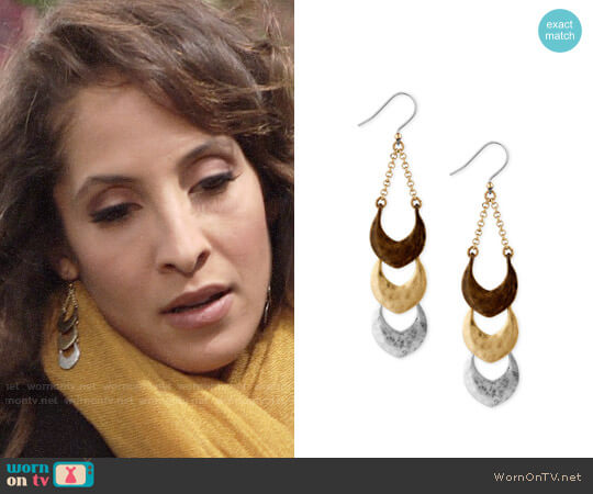 Lucky Brand Tri-Tone Triple Drop Earrings worn by Christel Khalil on The Young & the Restless