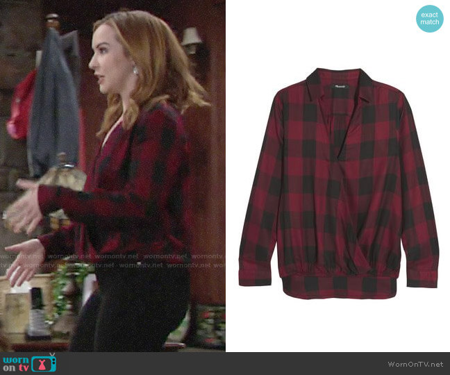 Madewell Wrap-effect Checked Voile Shirt worn by Mariah Copeland (Camryn Grimes) on The Young & the Restless
