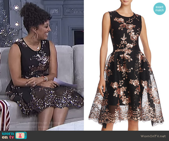 Russia Holiday Fit & Flare Dress by Maje worn by Tamera Mowry on The Real