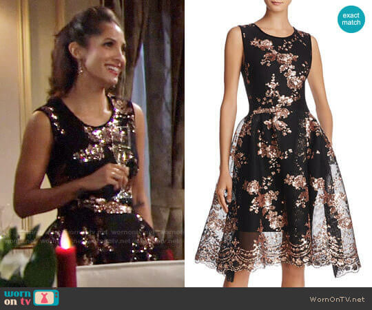 Maje Russia Holiday Fit & Flare Dress worn by Christel Khalil on The Young & the Restless