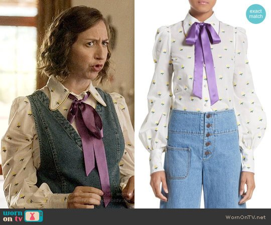 Marc Jacobs Rose Fil Coupé Bishop Sleeve Blouse worn by Kristen Schaal on Last Man On Earth