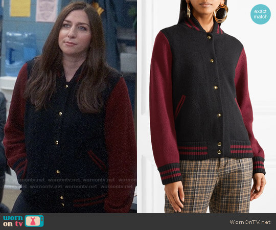 Marc Jacobs Two-tone wool and cashmere-blend bomber jacket worn by Gina Linetti (Chelsea Peretti) on Brooklyn Nine-Nine