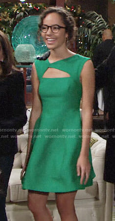 Mattie's green Christmas dress with cutout on The Young and the Restless