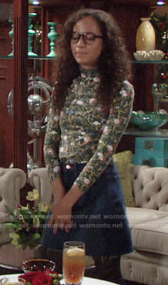 Mattie's green floral top on The Young and the Restless