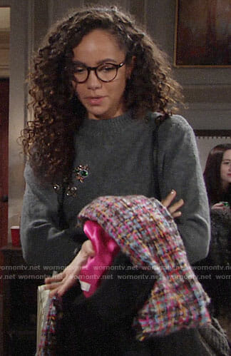 Mattie's grey embellished sweater, lace-up skirt and tweed scarf on The Young and the Restless