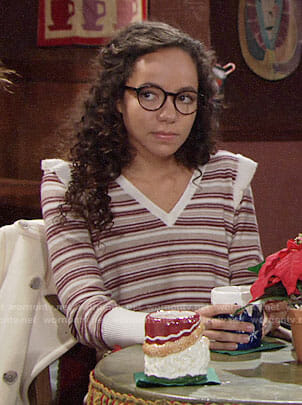 Mattie's red striped sweater with ruffle shoulders on The Young and the Restless