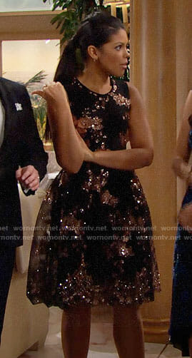 Maya's black sequin Christmas dress on The Bold and the Beautiful