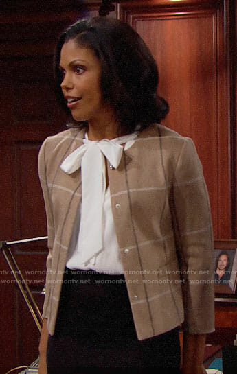 Maya's brown checked jacket on The Bold and the Beautiful