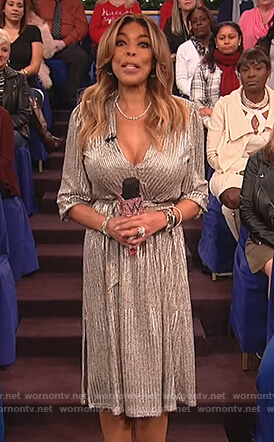 Wendy's metallic v-neck dress on The Wendy Williams Show