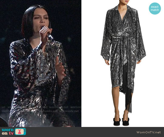 Michael Kors Collection Leopard Velvet Fil Coupe Kimono Wrap Dress worn by Jessie J on The Voice