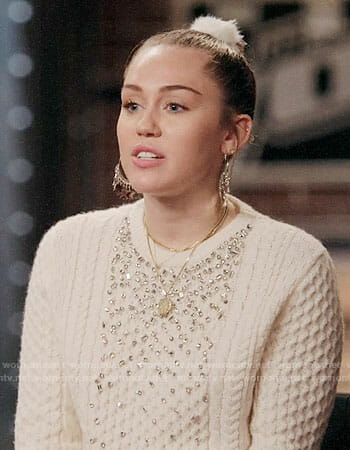 Miley Cyrus's embellished cable knit sweater on The Voice