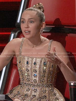 Miley Cyrus's gold embellished dress on The Voice