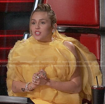 Miley Cyrus's yellow ruffled dress on The Voice
