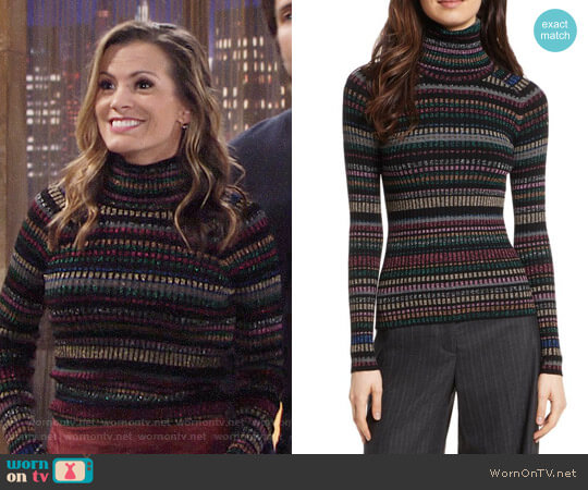 Milly Metallic Stripe Turtleneck worn by Chelsea Lawson (Melissa Claire Egan) on The Young & the Restless