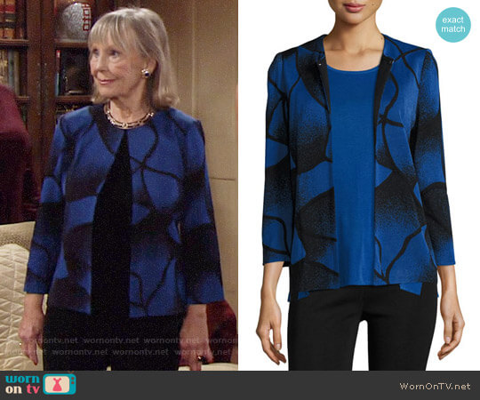 Misook Ribbed Bracelet-Sleeve Jacket worn by Dina Mergeron (Marla Adams) on The Young & the Restless