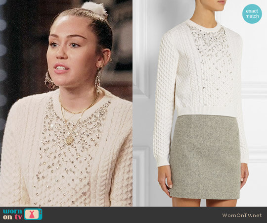 Miu Miu Crystal-embellished cable-knit sweater worn by Miley Cyrus on The Voice