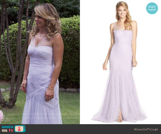 Monique Lhuillier Bridesmaids Illusion Yoke Pleat Tulle Trumpet Gown worn by Candace Cameron Bure on Fuller House