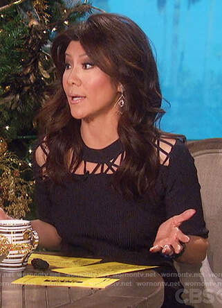 Julie's navy knitted cutouts dress on The Talk
