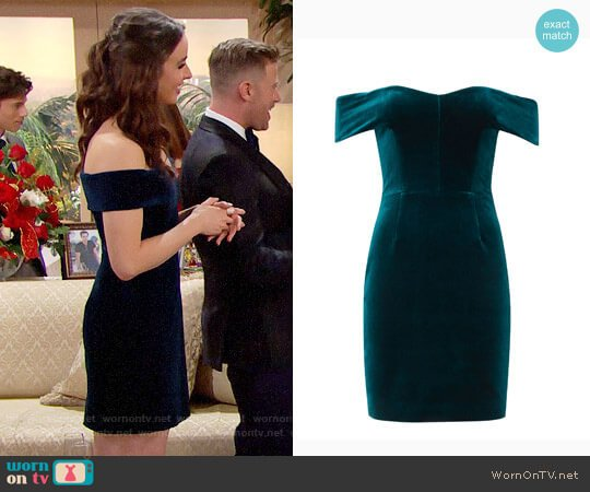 Nicholas Off Shoulder Velvet Mini Dress worn by Ashleigh Brewer on The Bold & the Beautiful