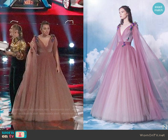 Nicolas Jebran Pink Gown worn by Miley Cyrus on The Voice