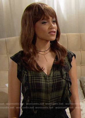 Nicole's green plaid ruffled top on The Bold and the Beautiful
