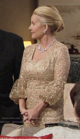 Nikki's gold embroidered dress on The Young and the Restless