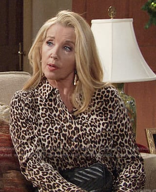 Nikki's leopard print blouse on The Young and the Restless