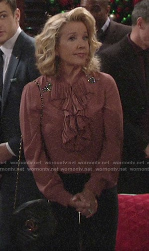 Nikki's pink ruffled blouse with embellishments on The Young and the Restless