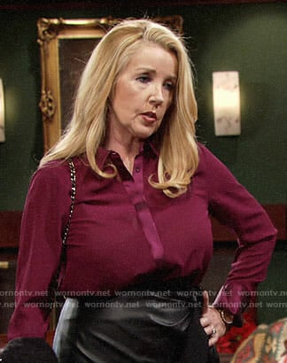 Nikki's purple blouse and leather skirt on The Young and the Restless