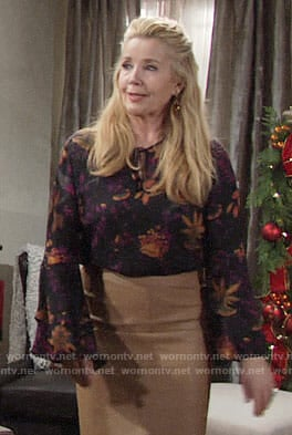 Nikki's black floral blouse on The Young and the Restless