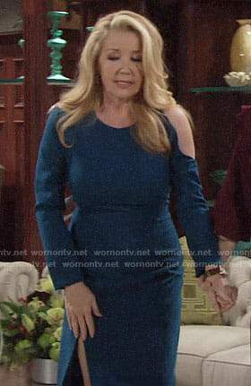 Nikki's blue dress with cutout shoulder on The Young and the Restless
