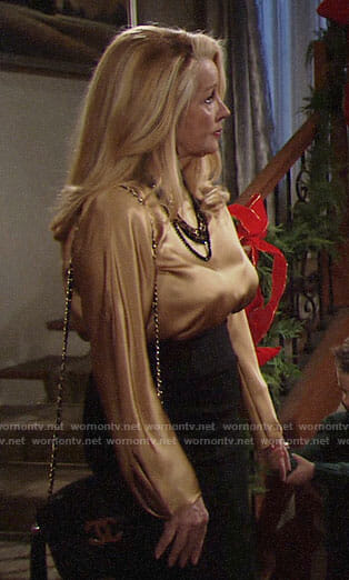 Nikki's gold blouse on The Young and the Restless