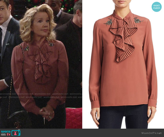 No. 21 Ruffled Trim Blouse worn by Nikki Reed Newman (Melody Thomas-Scott) on The Young & the Restless