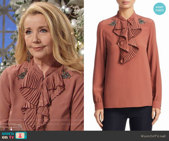 No. 21 Ruffled Trim Blouse worn by Melody Thomas-Scott on The Young & the Restless