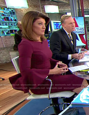 Norah's burgundy bell sleeve dress on CBS This Morning