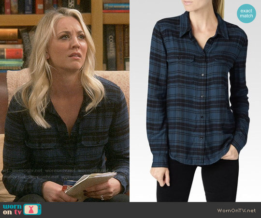Paige Trudy Shirt in Charleston Black/Dark Pine worn by Kaley Cuoco on The Big Bang Theory