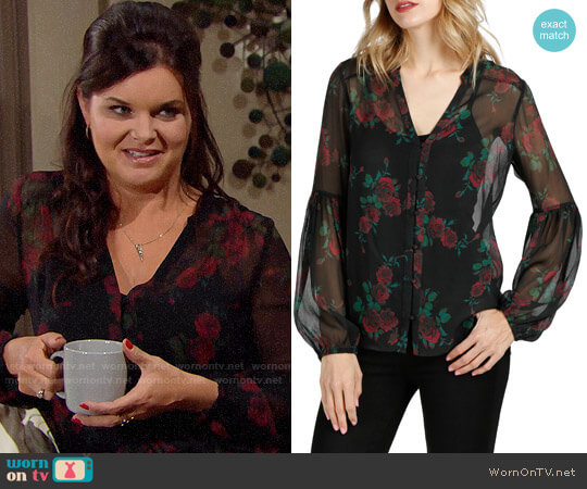 Paige Emilia Blouse worn by Heather Tom on The Bold & the Beautiful