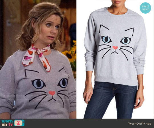 Paul & Joe Sister Ze Cat Embroidered Sweatshirt worn by Andrea Barber on Fuller House