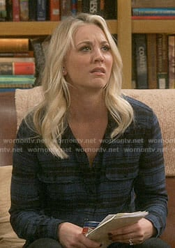 Penny's blue and black plaid shirt on The Big Bang Theory