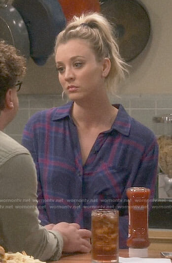 Penny's blue and pink plaid shirt on The Big Bang Theory