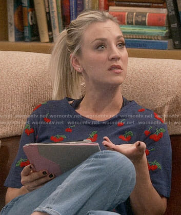 Penny's blue cherry embroidered t-shirt on The Big Bang Theory