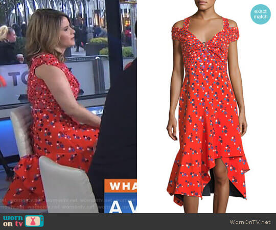 Cold-Shoulder Polka Dot Midi Dress by Peter Pilotto worn by Jenna Bush Hager on Today