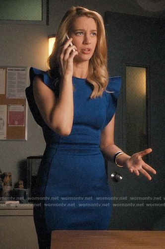 Petra's blue ruffle sleeve dress on Jane the Virgin