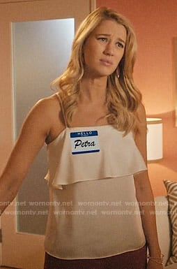 Petra's white overlay camisole top on Jane the Virgin