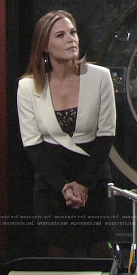 Phyllis's black and white blazer style dress on The Young and the Restless