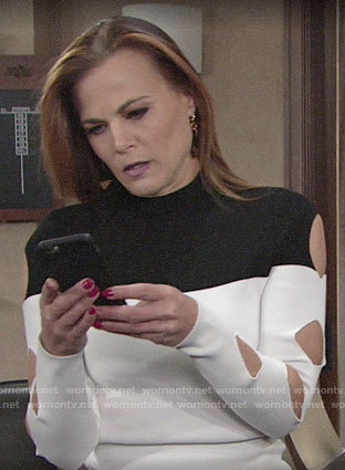 Phyllis's black and white sweater with cutout sleeves on The Young and the Restless