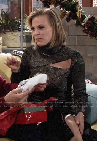 Phyllis's metallic sweater with cutout on The Young and the Restless